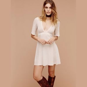 FREE PEOPLE DEEP V KNITTED HOBO CHIC IVORY DRESS